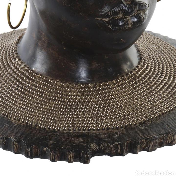 Arte: Precioso Busto africana con pendientes, sobre peana. Material: Resina. - Foto 3 - 222172235