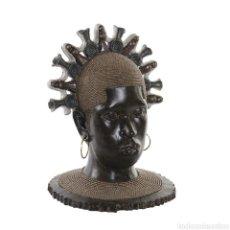 Arte: PRECIOSO BUSTO AFRICANA CON PENDIENTES, SOBRE PEANA. MATERIAL: RESINA.. Lote 222172235