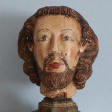 Arte: CABEZA GÓTICA DE TAMAÑO CASI NATURAL, SIGLOS XIV-XV, ELABORADA EN MADERA TALLADA Y POLICROMADA.. Lote 222392173