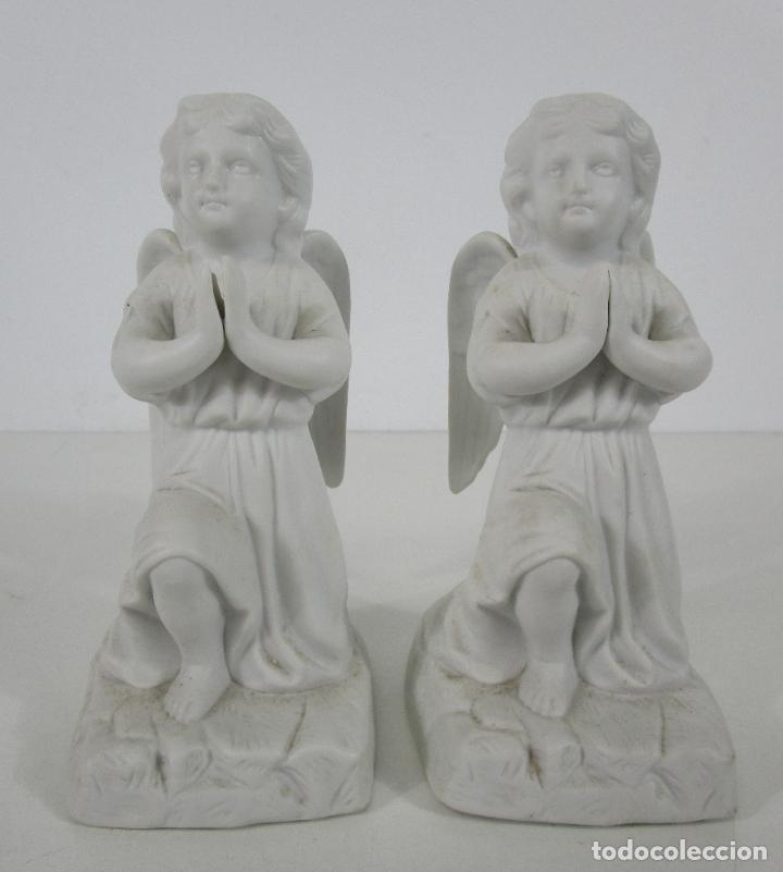 Arte: Pareja de Ángeles Custodios - Porcelana Biscuit - Altura 17 cm - S. XIX - Foto 5 - 222794292