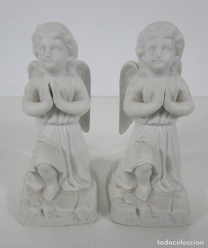 Arte: Pareja de Ángeles Custodios - Porcelana Biscuit - Altura 17 cm - S. XIX - Foto 13 - 222794292