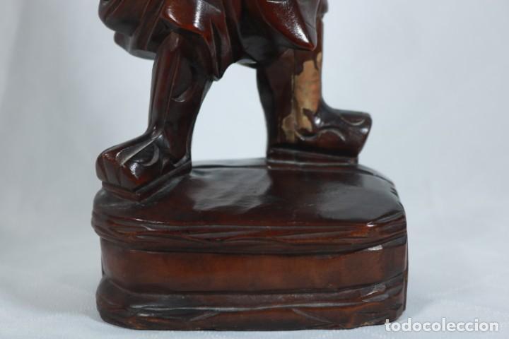 Arte: Antiguo Guerrero chino tallado a mano en madera - Primera mitad del siglo XX - Foto 4 - 223029188