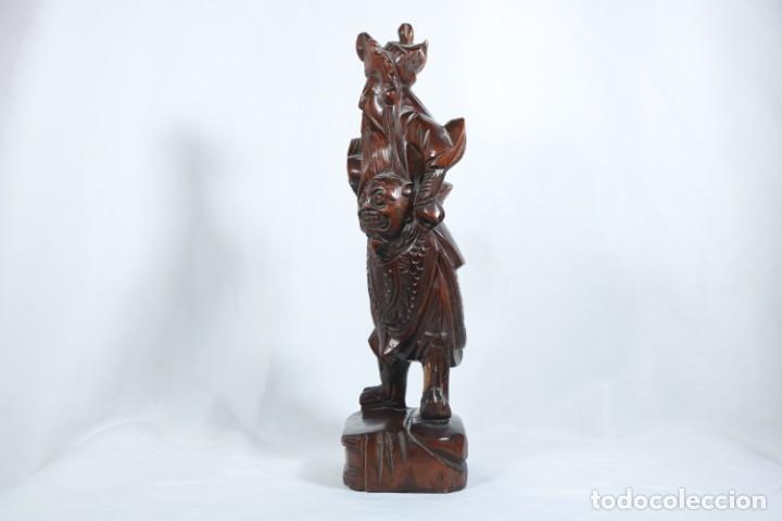 Arte: Antiguo Guerrero chino tallado a mano en madera - Primera mitad del siglo XX - Foto 5 - 223029188