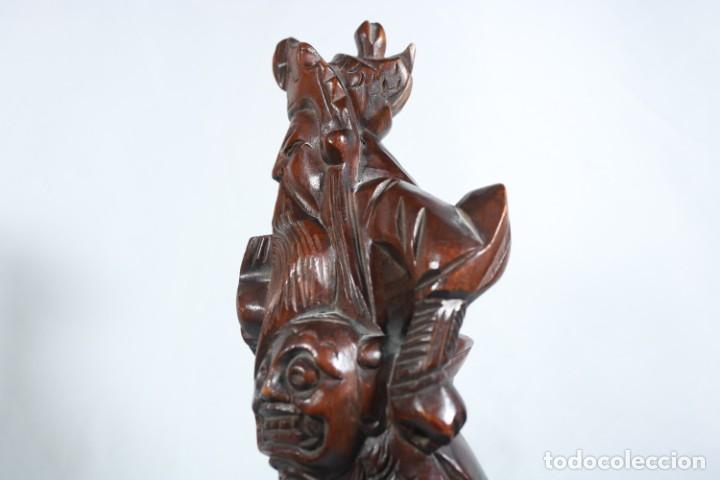 Arte: Antiguo Guerrero chino tallado a mano en madera - Primera mitad del siglo XX - Foto 6 - 223029188