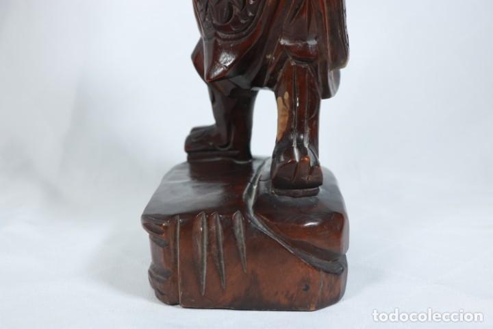 Arte: Antiguo Guerrero chino tallado a mano en madera - Primera mitad del siglo XX - Foto 8 - 223029188