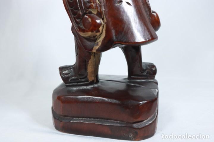 Arte: Antiguo Guerrero chino tallado a mano en madera - Primera mitad del siglo XX - Foto 12 - 223029188