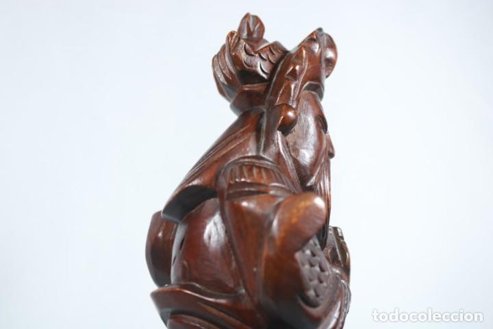 Arte: Antiguo Guerrero chino tallado a mano en madera - Primera mitad del siglo XX - Foto 14 - 223029188
