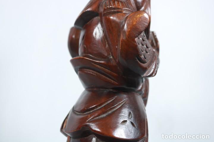 Arte: Antiguo Guerrero chino tallado a mano en madera - Primera mitad del siglo XX - Foto 15 - 223029188