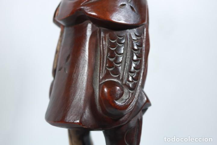 Arte: Antiguo Guerrero chino tallado a mano en madera - Primera mitad del siglo XX - Foto 16 - 223029188