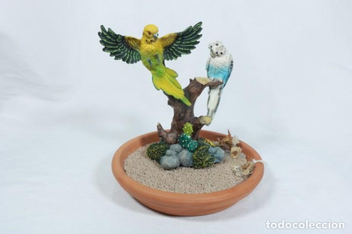 Arte: Escultura de Pareja de loros tropicales sobre un arbol hecho en porcelana y resina - Foto 8 - 223678111