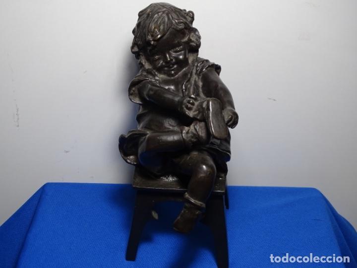 ESCULTURA DE BRONCE DE JUAN CLARA AYATS.GRAN DOMINIO DEL MOVIMIENTO. (Arte - Escultura - Bronce)