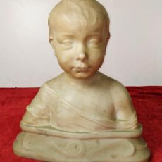 Arte: BUSTO INFANTIL. MODERNISTA. MÁRMOL BLANCO TALLADO A MANO. ESPAÑA. CIRCA 1900. Lote 225115807
