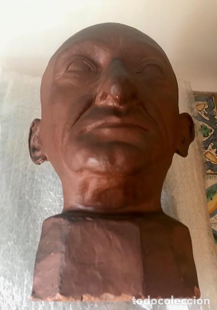 Arte: Cabeza de varón terracota esmaltada firmada: Buxeda 1944. RECOGER EN BARCELONA - Foto 6 - 225823020