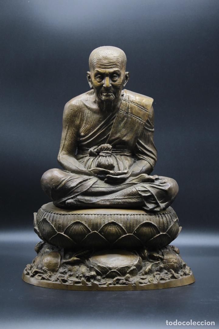 ESCULTURA DE BRONCE LUANG PU -THUAT MONJE BUDISTA (Arte - Escultura - Bronce)