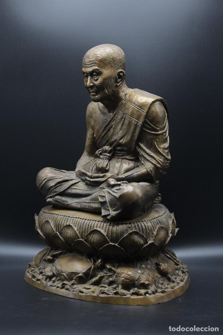 Arte: ESCULTURA DE BRONCE LUANG PU -THUAT Monje Budista - Foto 4 - 137649666