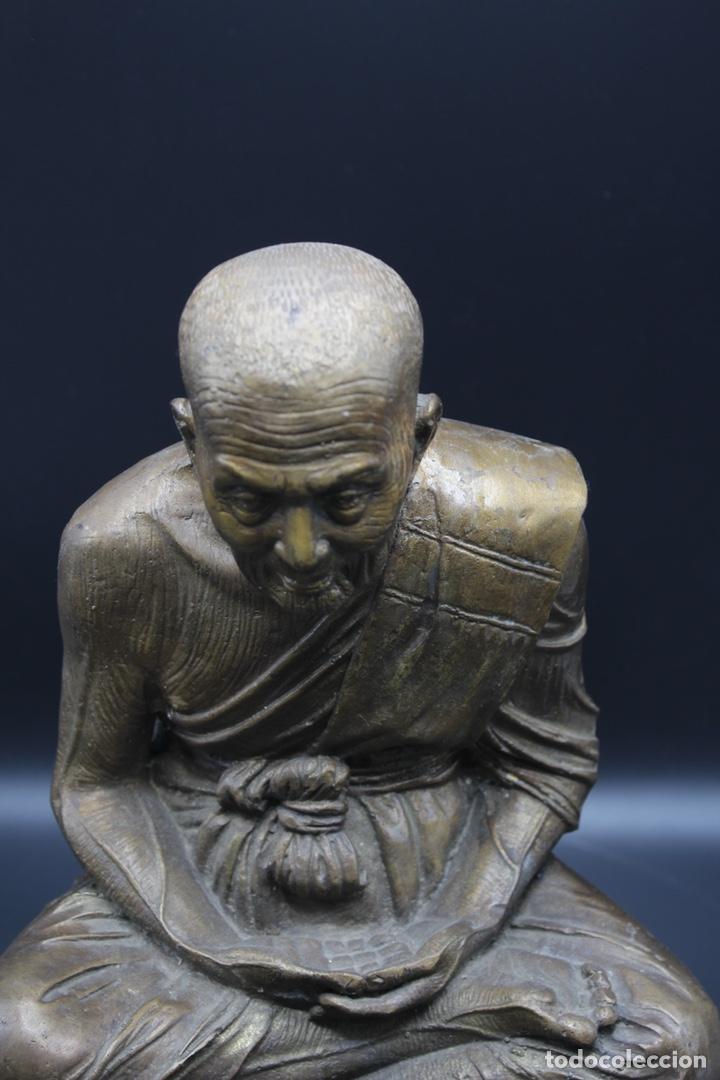 Arte: ESCULTURA DE BRONCE LUANG PU -THUAT Monje Budista - Foto 13 - 137649666