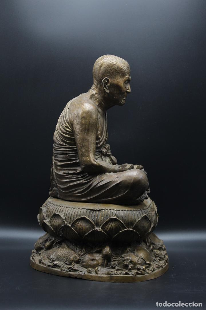 Arte: ESCULTURA DE BRONCE LUANG PU -THUAT Monje Budista - Foto 15 - 137649666