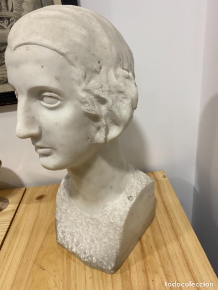 BUSTO DE SEÑORA EN MARMOL S. XIX (Arte - Escultura - Piedra)