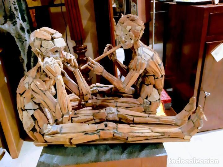 """ANA HÉRCULES, """"EL SORDO Y LA FLAUTA"""" (Arte - Escultura - Madera)"""