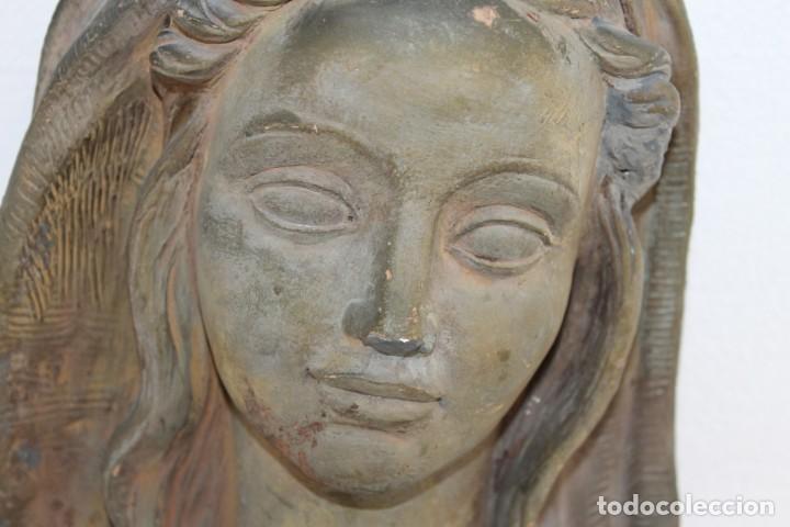 Arte: Busto de virgen en terracota firmado A. Guasch. Mediados del siglo XX - Foto 2 - 226845189