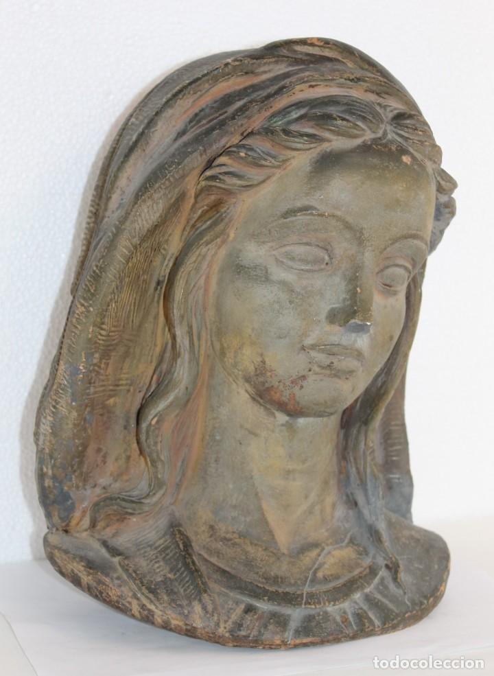 Arte: Busto de virgen en terracota firmado A. Guasch. Mediados del siglo XX - Foto 4 - 226845189