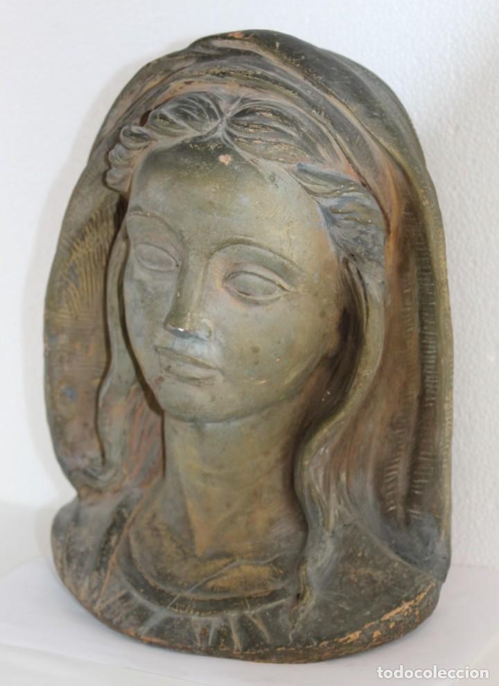 Arte: Busto de virgen en terracota firmado A. Guasch. Mediados del siglo XX - Foto 5 - 226845189