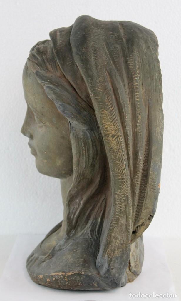Arte: Busto de virgen en terracota firmado A. Guasch. Mediados del siglo XX - Foto 6 - 226845189
