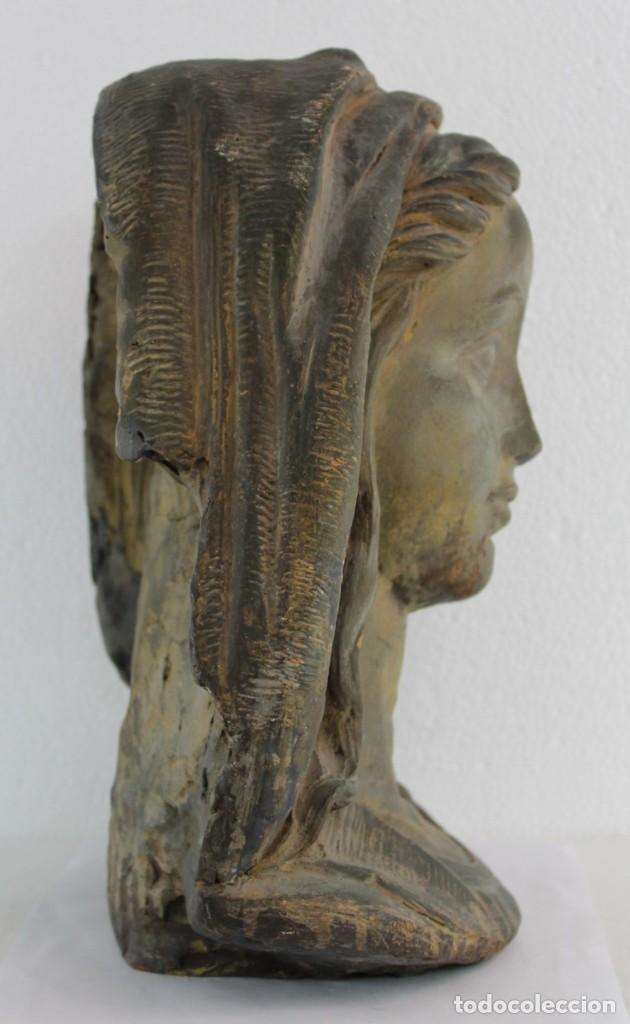 Arte: Busto de virgen en terracota firmado A. Guasch. Mediados del siglo XX - Foto 11 - 226845189