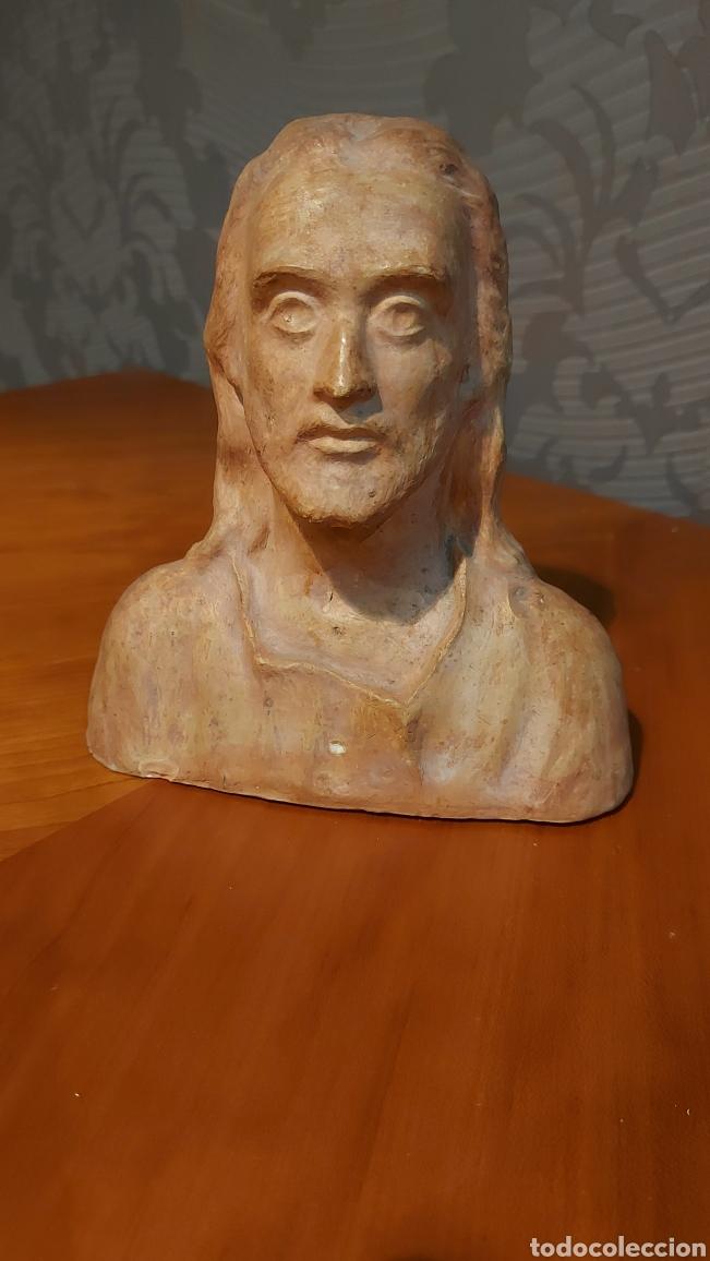 BUSTO CERÁMICA JESÚS FIRMADO R DE TORTOSA IMAGEN RELIGIOSA TAMAÑO 18 X 18 X 8 CM (Arte - Escultura - Terracota )