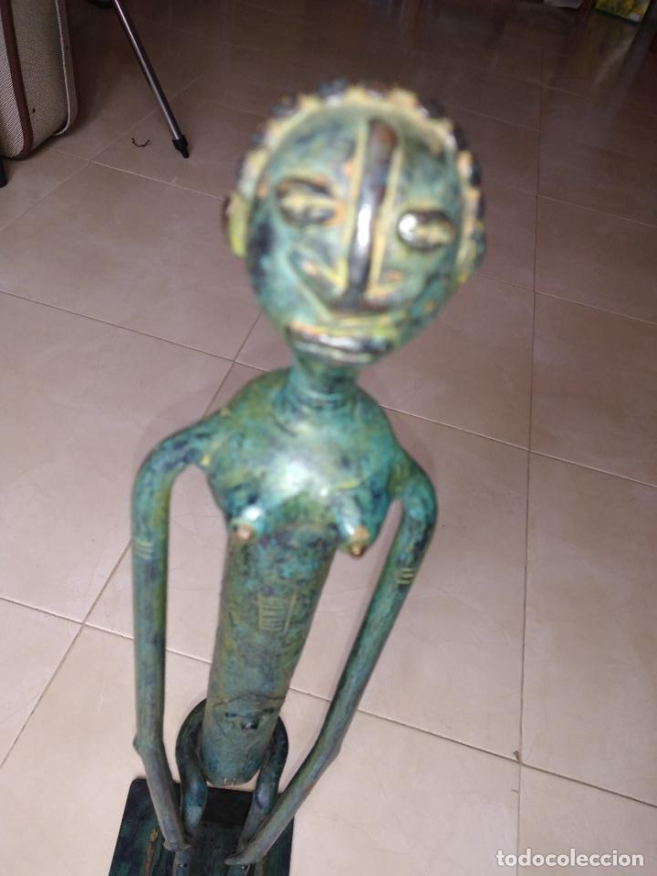 Arte: Escultura metal estilo africano mujer - Foto 6 - 229682225