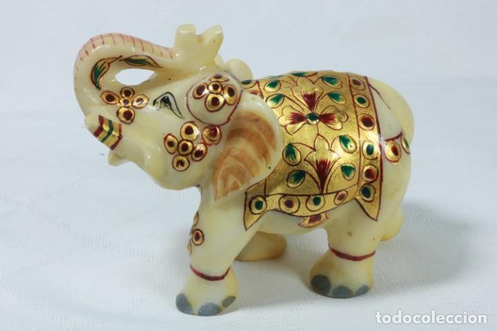 Arte: Elefante indio tallado en piedra y pintado a mano - Foto 2 - 230049610