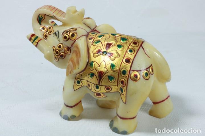 Arte: Elefante indio tallado en piedra y pintado a mano - Foto 3 - 230049610