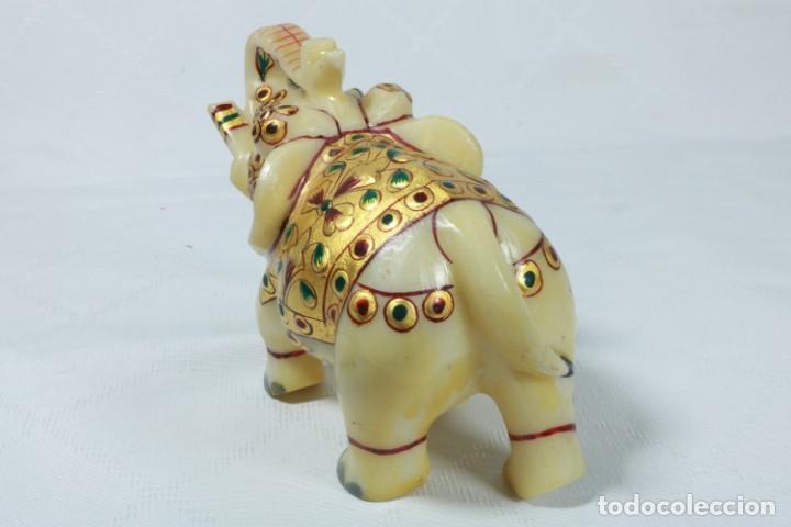 Arte: Elefante indio tallado en piedra y pintado a mano - Foto 4 - 230049610