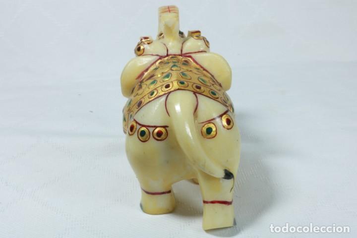 Arte: Elefante indio tallado en piedra y pintado a mano - Foto 5 - 230049610