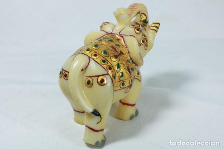 Arte: Elefante indio tallado en piedra y pintado a mano - Foto 6 - 230049610