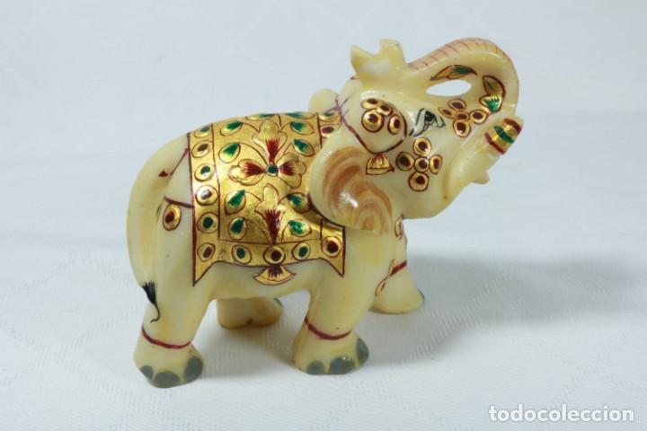 Arte: Elefante indio tallado en piedra y pintado a mano - Foto 7 - 230049610