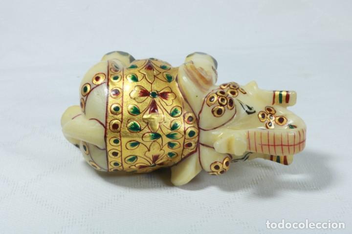 Arte: Elefante indio tallado en piedra y pintado a mano - Foto 9 - 230049610