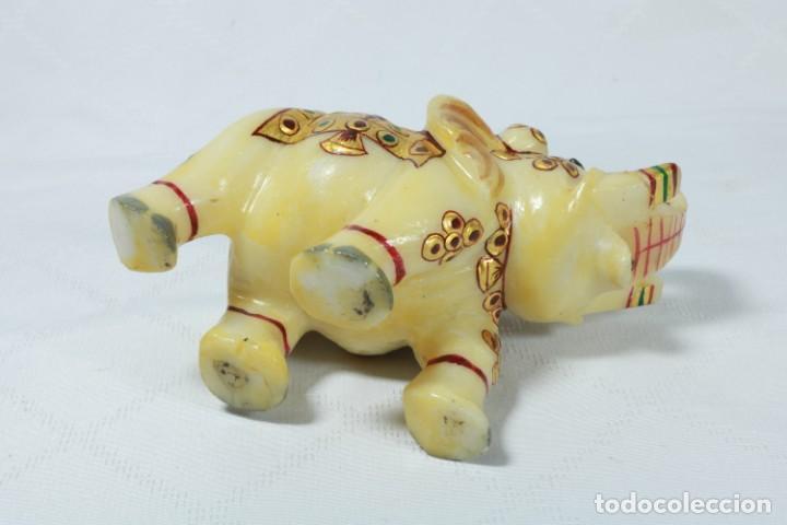 Arte: Elefante indio tallado en piedra y pintado a mano - Foto 10 - 230049610