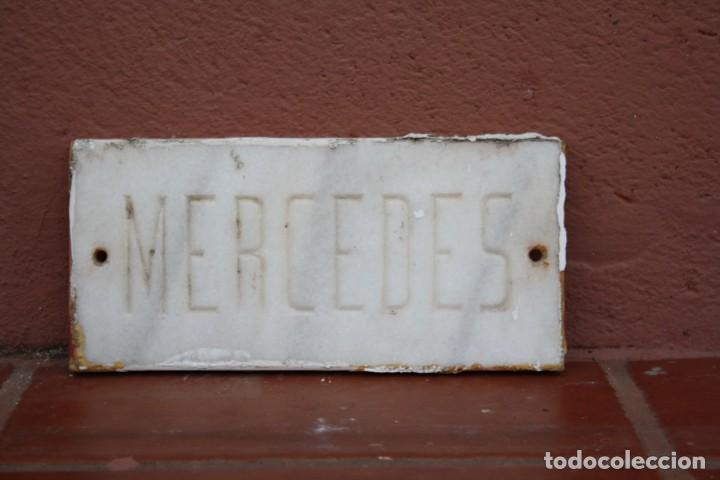 Arte: ANTIGUA PLACA DE MARMOL CON EL NOMBRE DE PILAR MERCEDAS TALLADO A MANO – PREPARADA PARA ATORNILLAR - Foto 2 - 230098670