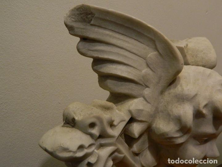 Arte: Angel marmol esculpido, Escuela española, estilo gótico. - Foto 6 - 230756450