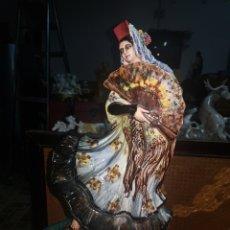 Art: DAMA CON ABANICO, MARAVILLOSA OBRA HECHA A MANO POR DON A. PEYRO. EN PERFECTO ESTADO. Lote 231442380