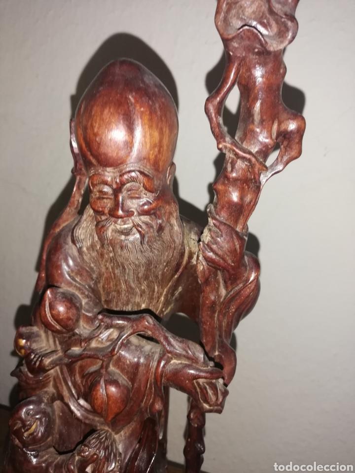 Arte: Gran Escultura madera de palo rosa.. siglo. XlX... Medidas en fotos.. Esta cubierta de polvo... - Foto 5 - 231501815