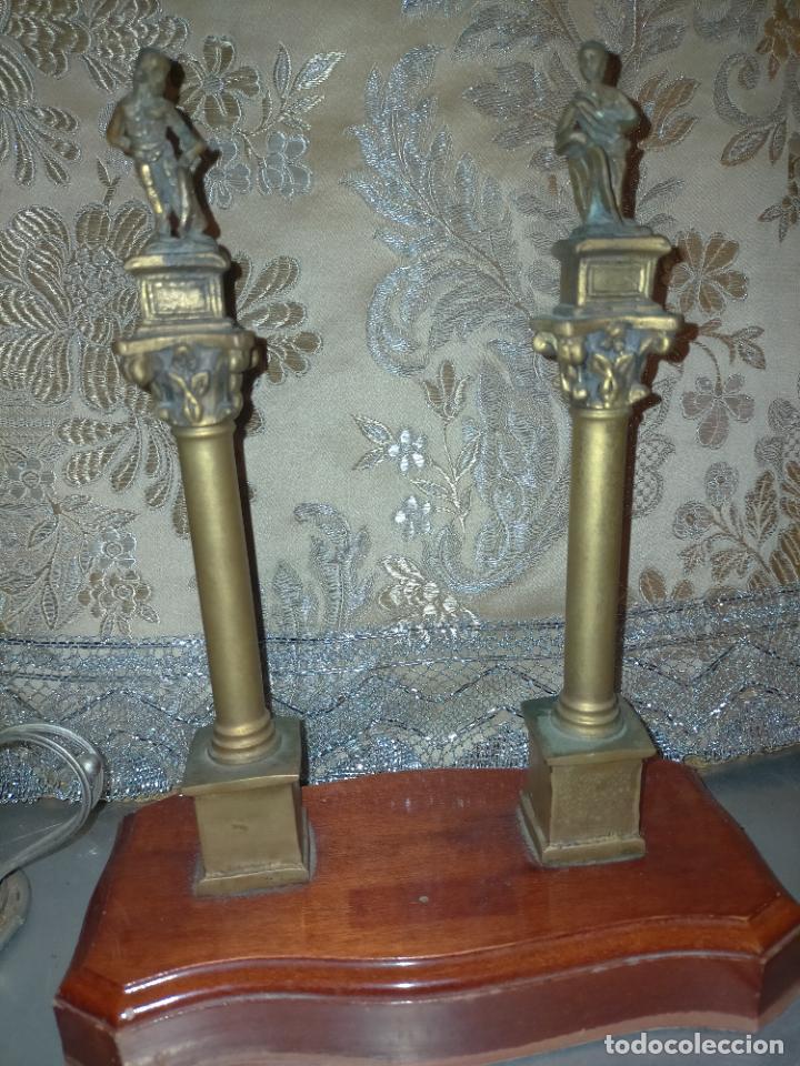 Arte: MINIATURA escultura BRONCE PAREJA COLUMNAS ROMANAS DE LA ALAMENDA DE HERCULES SEVILLA PEANA MADERA - Foto 12 - 231542670