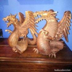 Arte: ANTIGUOS DRAGONES CHINOS TALLADOS.. Lote 232535410