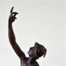 Arte: HERMES-MERCURIO. ESCULTURA EN BRONCE. GRAN BASE EN MADERA. FRANCIA(?) SIGLO XIX. Lote 232578920