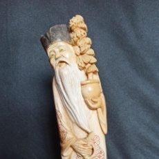 Arte: FIGURA DE MARFIL. ANCIANO CULTIVADOR DE BONSAI.. Lote 232617330