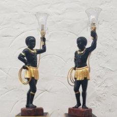 Arte: PAREJA DE TORCHEROS BLACKMOORE LUMINARIA LAMPARERO LAMPARA MORO NEGRO VENECIANO. Lote 231557915