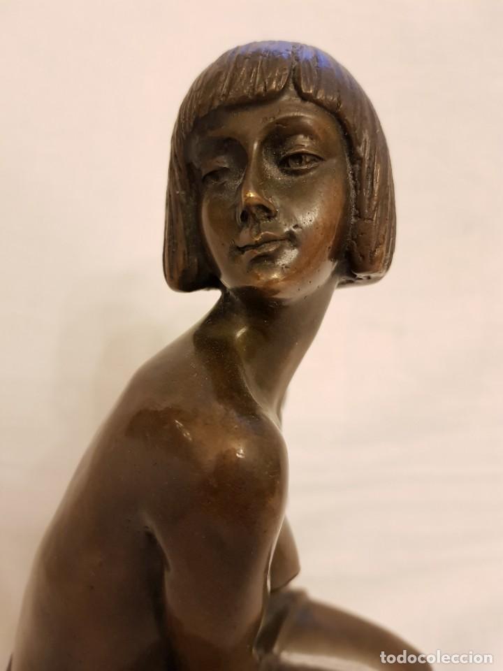 Arte: Escultura de bronce art deco. Firmada por A. Gennarelli. Aspasia de Mileto - Foto 2 - 233044140