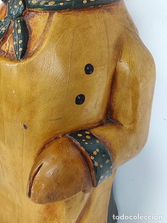 Arte: Divertido Cerdo de Antigua Carnicería - Madera Tallada y Policromada - Altura 85 cm - Foto 5 - 234458875