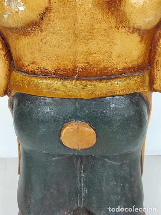 Arte: Divertido Cerdo de Antigua Carnicería - Madera Tallada y Policromada - Altura 85 cm - Foto 13 - 234458875
